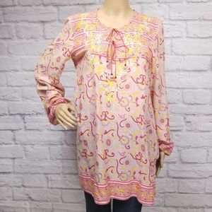 Lucky Brand embroidered paisley peasant tunic
